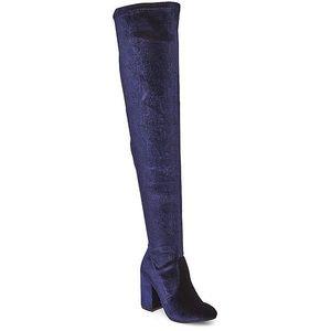 Steve Madden Blue Velvet Norri V Over Knee Boot